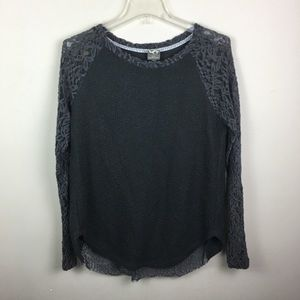 Anthropologie One September gray lace blouse
